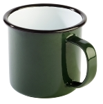 Henkelbecher -ENAMELWARE- 0,35 l weiß/grün
