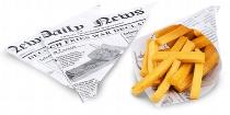 Pommes Frites Tüte 18 cm aus Wachspapier, Motiv Zeitung