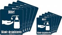 Aufkleber HÄNDE DESINFIZIEREN 10er-Pack (2 Größen)