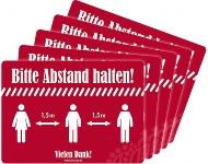 Aufkleber ABSTAND HALTEN 5er-Pack