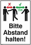 Schild BITTE ABSTAND HALTEN dreifarbig