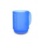510 Henkelbecher Skala 0,35 l mit Inhaltsskalierung blau/transp.